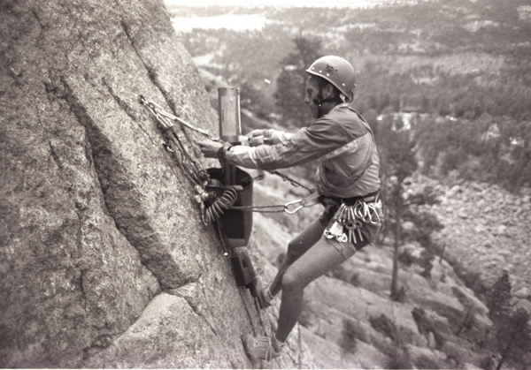 "Andy Petefish of Tower Guides selflessly making climbing safer on Devils Tower by donating time to replace old homemade bolt hangers with 1/4"" bolts w/Petzl Eye Bolts on the West Face of Devils Tower - 1989 - Thank You, Andy!!!!"